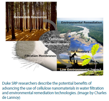 A photo illustrating the benefits of cellulose nanomterials. Nanomaterials can be used in environmental remediation and filtration membranes. They are also a renewable resource and have a low environmental impact.