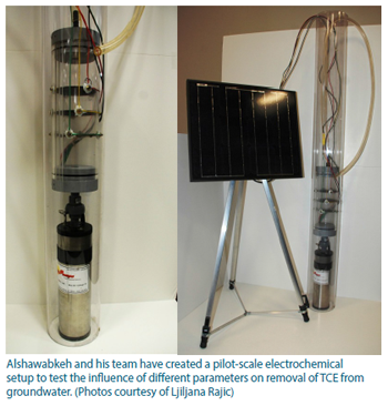 Photo of The solar-powered electrochemical setup.