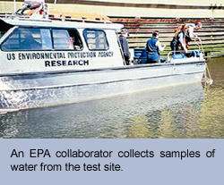 Photo of an EPA collaborator sampling surface water from research boat.