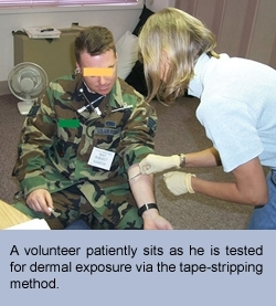 A volunteer patiently sits as he is tested for dermal exposure via the tape-stripping method.