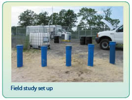 A picture of pump and treat access points, with the caption 'Field study set up'.