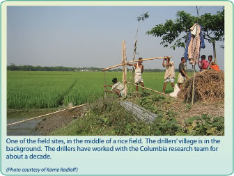 Image of a field study site of a well in a rice field.