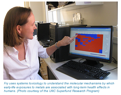 A photo of Rebecca Fry viewing her research results on a computer screen.