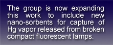 textbox stating:the group is now expanding this work to include new nano-sorbents for capture of Hg vapor released from broken compact fluorescent lamps.