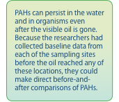 PAHs can persist in the water and in organisms even after the visible oil is gone. Because the researchers had collected baseline data from each of the sampling sites before the oil reached any of these locations, they could make direct before-and-after comparisons of PAHs. .